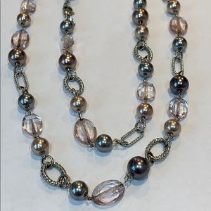 Premier designs extra long silver ball faux pearl